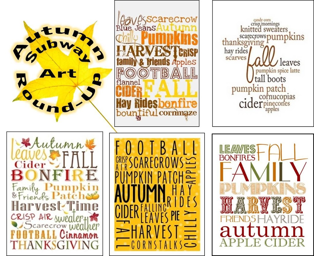 graphic about Subway Art Printable identified as Autumn Subway Artwork Spherical-Up (No cost PRINTABLES!) - Bitz Giggles