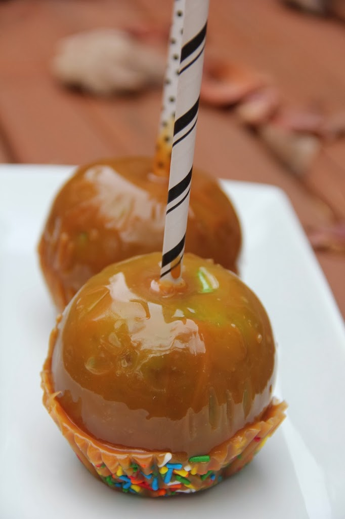 Caramel apples with sprinkles