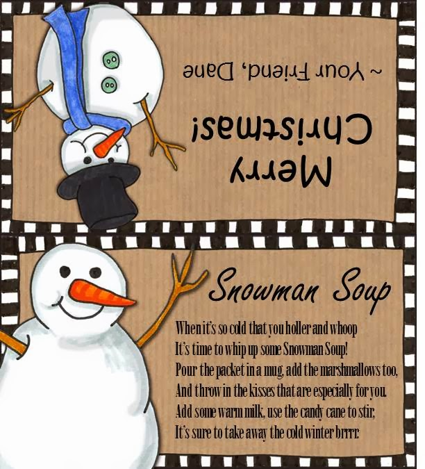photograph relating to Snowman Soup Printable Tag titled Snowman Soup Deal with Luggage - Bitz Giggles