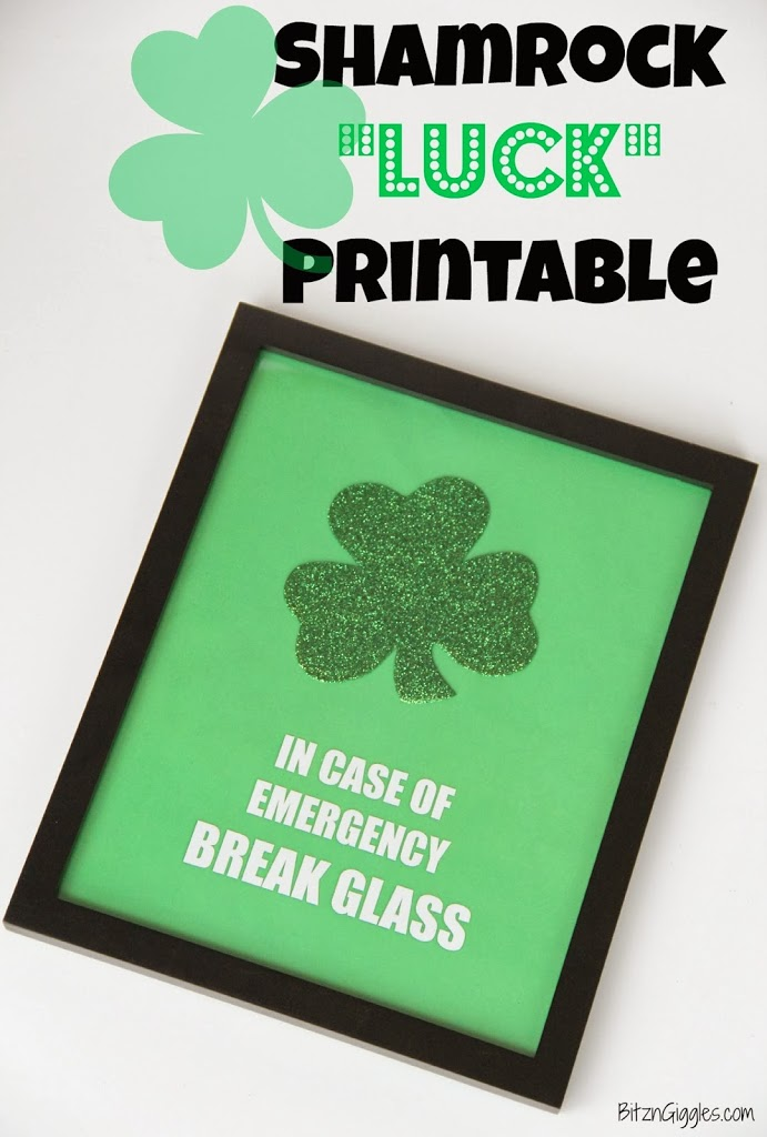photo relating to In Case of Emergency Break Glass Printable known as Shamrock \
