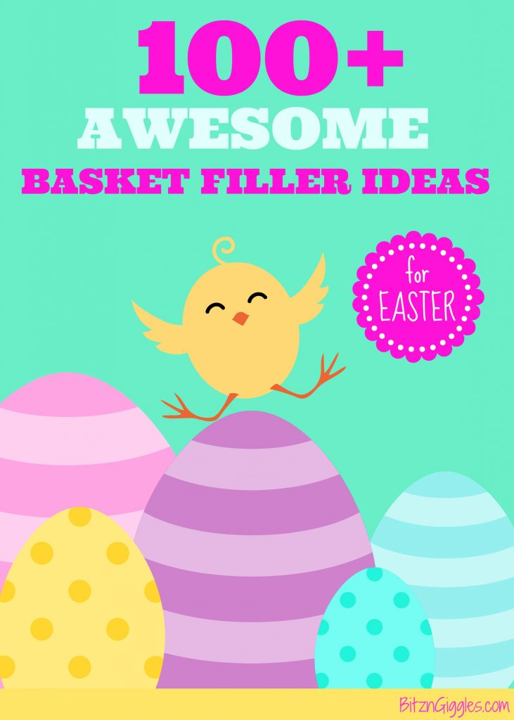 100+ Awesome Easter Basket Filler Ideas - Don't fill kids' baskets with a bunch of candy! Check out all of these great ideas instead! Kids actually prefer these things over candy!