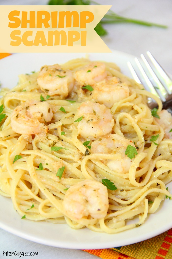 Shrimp Scampi - Flavorful shrimp covered with breadcrumbs, broiled and tossed with buttery linguine! #shrimp #scampi #pasta #linguine #bitzngiggles