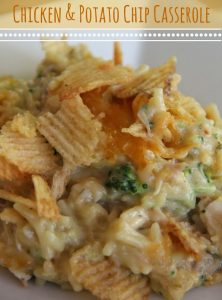 Chicken and Potato Chip Casserole - chicken, rice and broccoli covered in melted cheese and crisp potato chips!