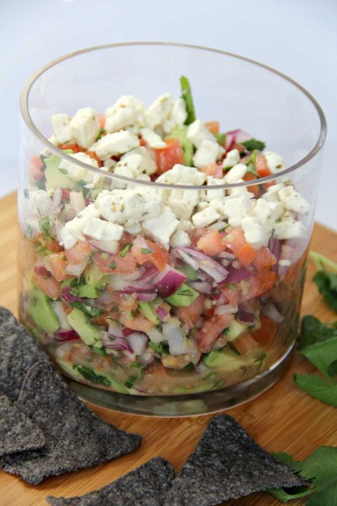 Feta Pico de Gallo - A unique Pico de Gallo recipe that incorporates feta cheese, red wine vinegar and olive oil along with the regular cast of characters you would expect. The result is out-of-this-world GOOD!