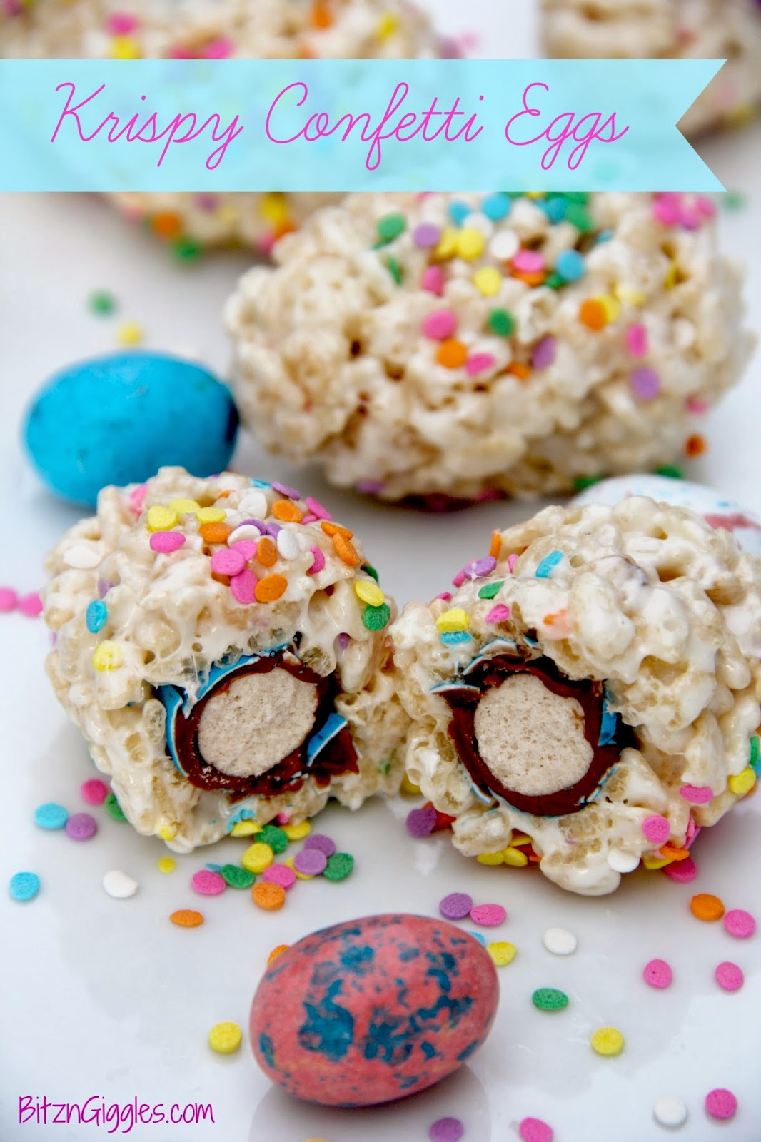 Krispy Confettii Eggs - A perfect Easter treat with a surprise hiding inside!