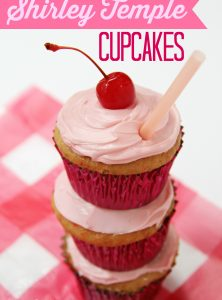 Shirley Temple Cupcakes - Made with Cherry Chip cake mix spiked with lemon-lime soda, filled with a marshmallowy fluff, topped with vanilla buttercream frosting and garnished with a cherry! WOW!