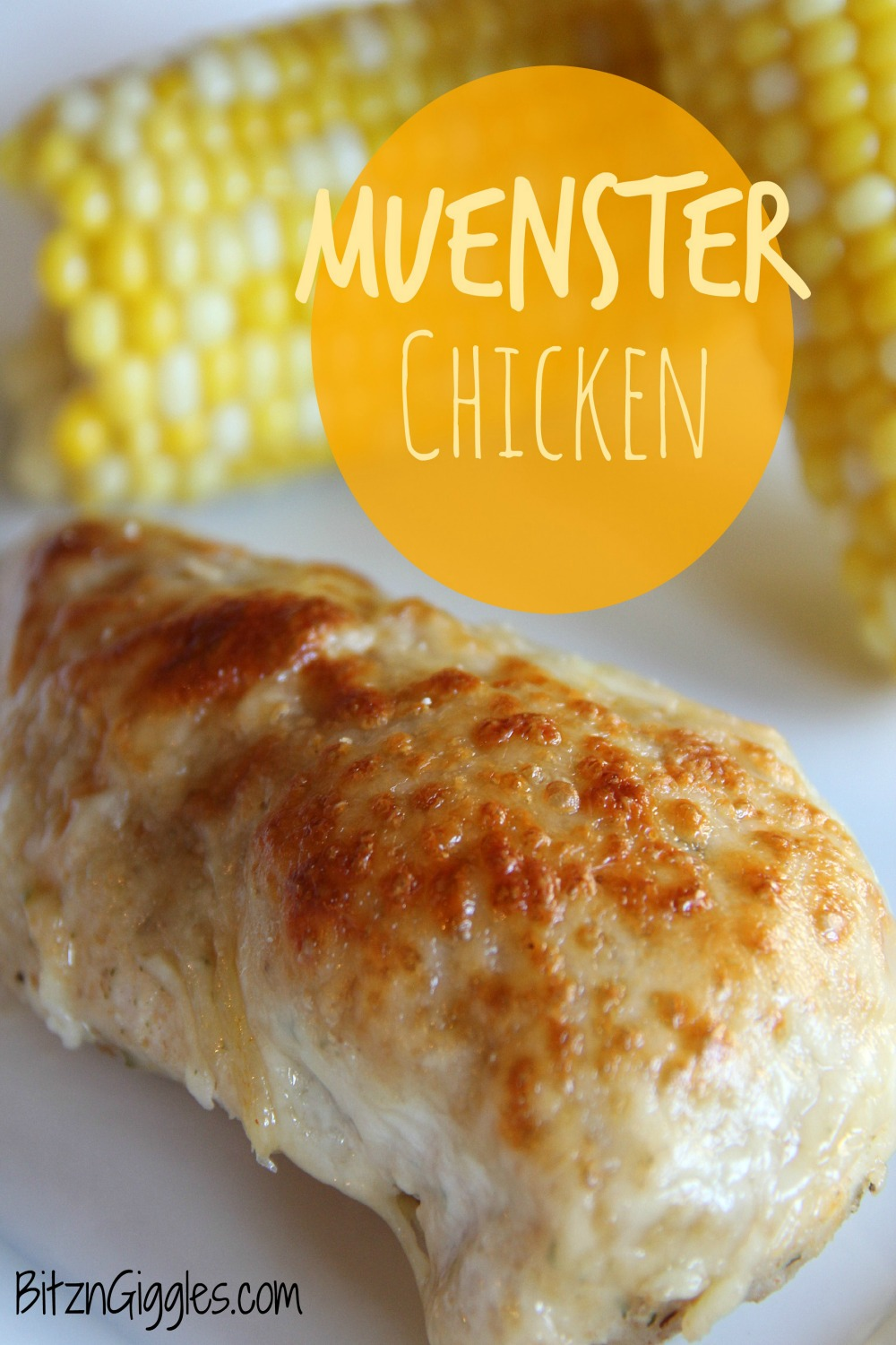 Muenster Chicken - Oven-baked chicken breasts are dredged in bread crumbs, covered with creamy Muenster cheese and infused with a subtle hint of white wine!