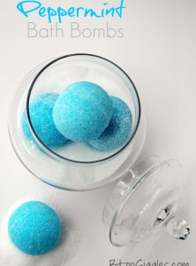 "Peppermint Bath Bombs - These ""blue snowballs"" soothe, invigorate your senses with cool peppermint and transform your bath water color to an ocean blue."