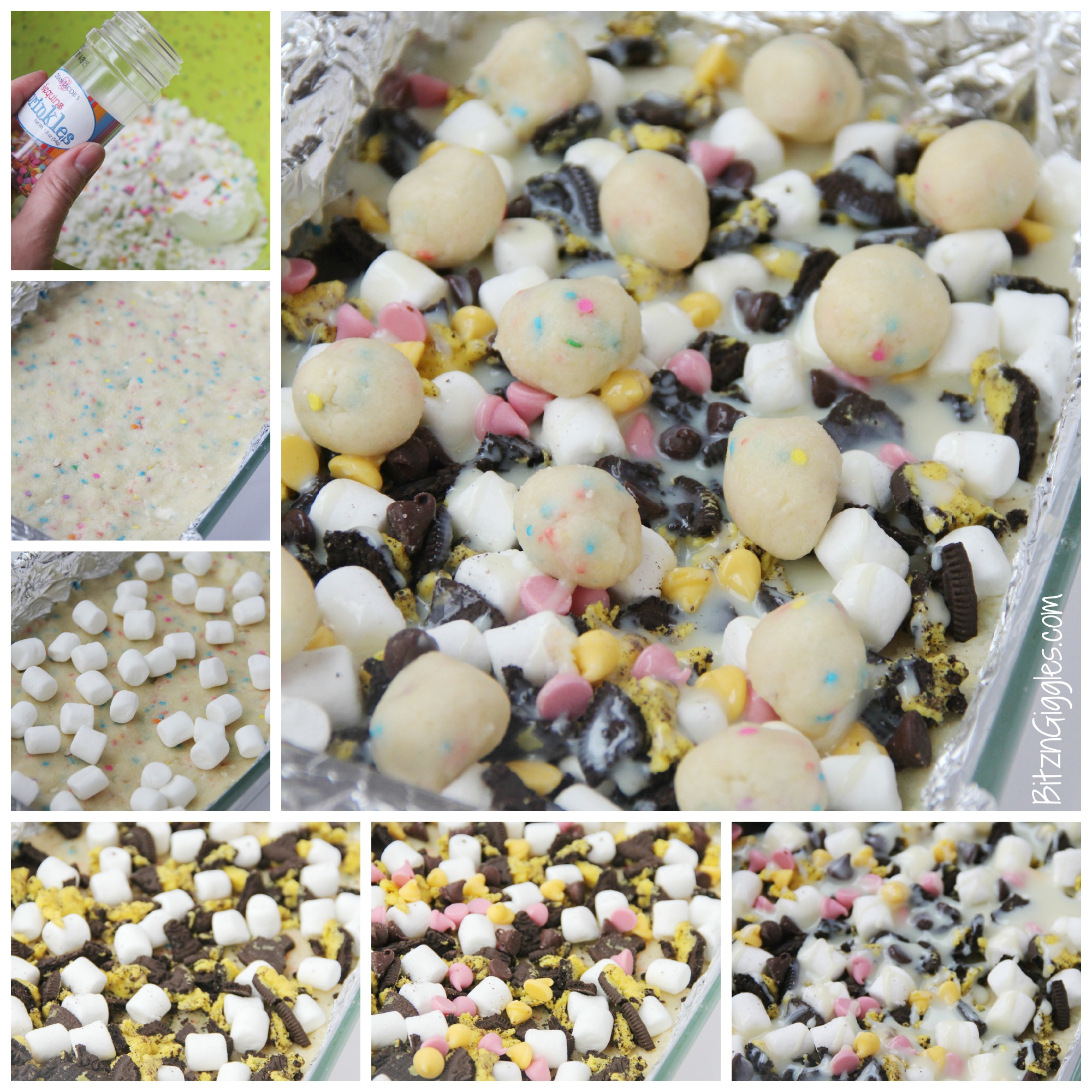 Cake Batter Truffle Bars - Sweet, chewy, decadent bars exploding with sprinkles, chocolate chips, marshmallows, and Oreo pieces!