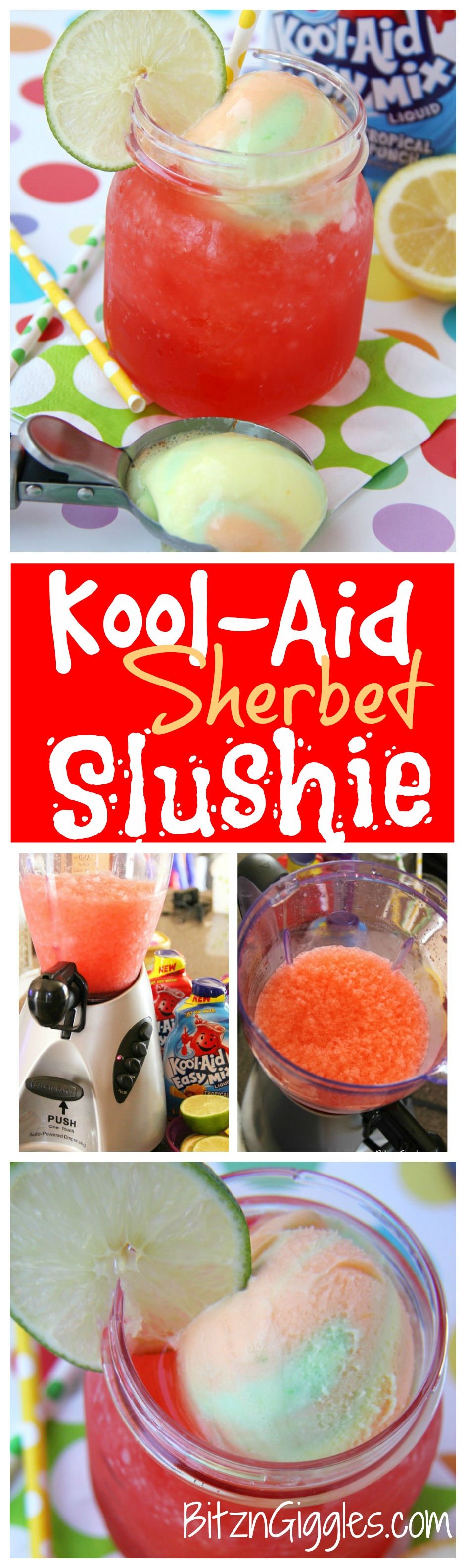 Kool-Aid Sherbet Slushie - A refreshing Kool-Aid slushie topped off with a creamy scoop of rainbow sherbet!