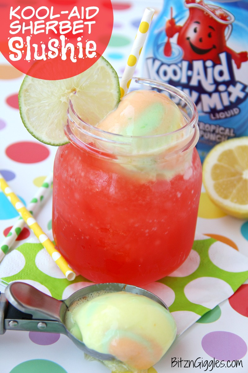 Kool-Aid Sherbet Slushie - A refreshing Kool-Aid slushie topped off with a creamy scoop of rainbow sherbet!