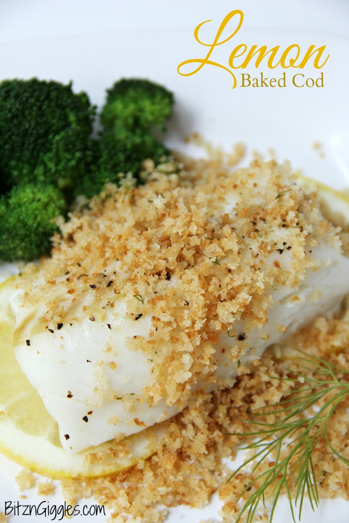 Lemon Baked Cod - Flaky white cod baked on top of lemon slices and then topped off with panko crumbs. . . bursting with flavors of lemon and dill.