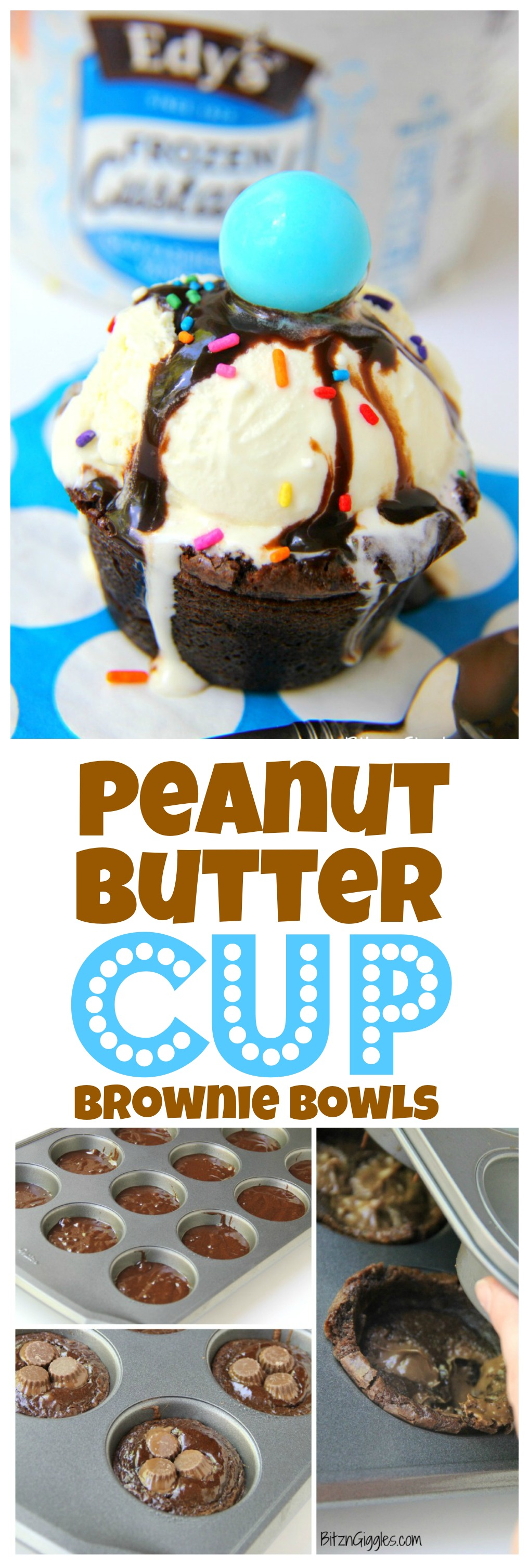 Peanut Butter Cup Brownie Bowls - A peanut butter cup infused brownie bowl perfect to build your ice cream sundae in!