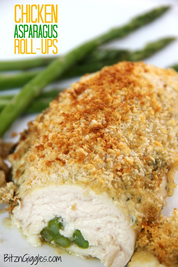 Chicken Asparagus Roll-Ups - Deliciously moist and cheesy chicken breasts rolled around asparagus spears and covered with a hollandaise-like sauce. Crunchy panko crumbs top off this elegant dish.