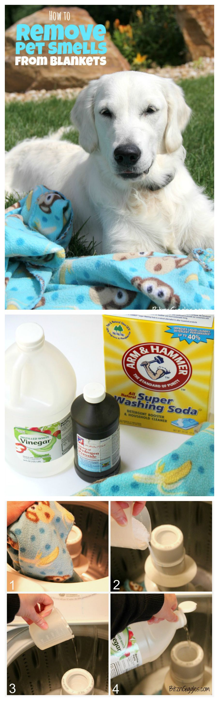 How to Remove Pet Smells From Blankets - Got a stinky blanket that you just can't seem to get the smell out of? This cleaning solution really works!