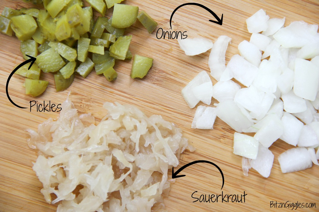 Cheese Curd Dogs -A family favorite with Wisconsin charm! Chopped onions, pickles, sauerkraut and cheese curds make this dog irresistible!