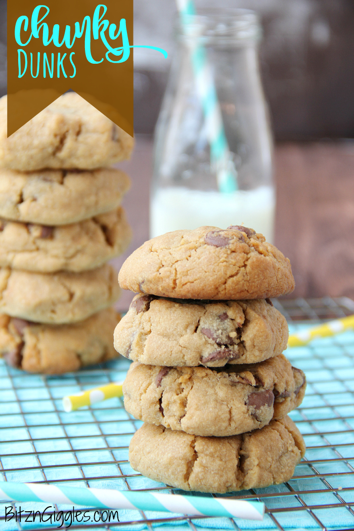 Chunky Dunks - Thick and chewy peanut butter and chocolate cookies perfect for milk dunking!