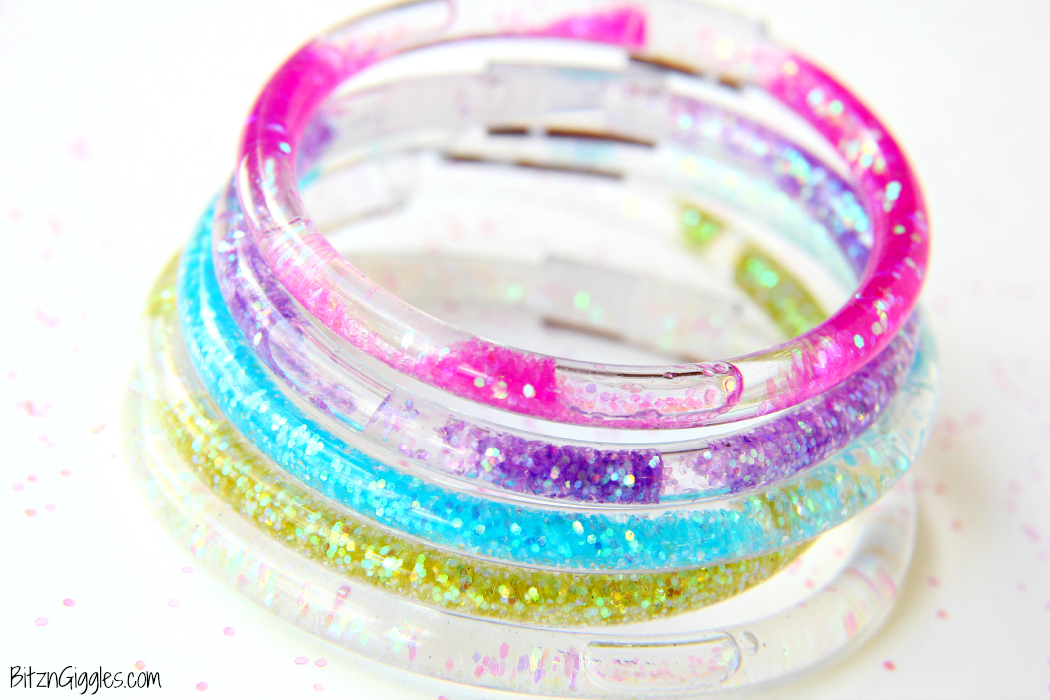 Glitter Friendship Bracelets - A full step-by-step tutorial for making your own colorful, glittery, water-filled bracelets that we all loved from the 80's!
