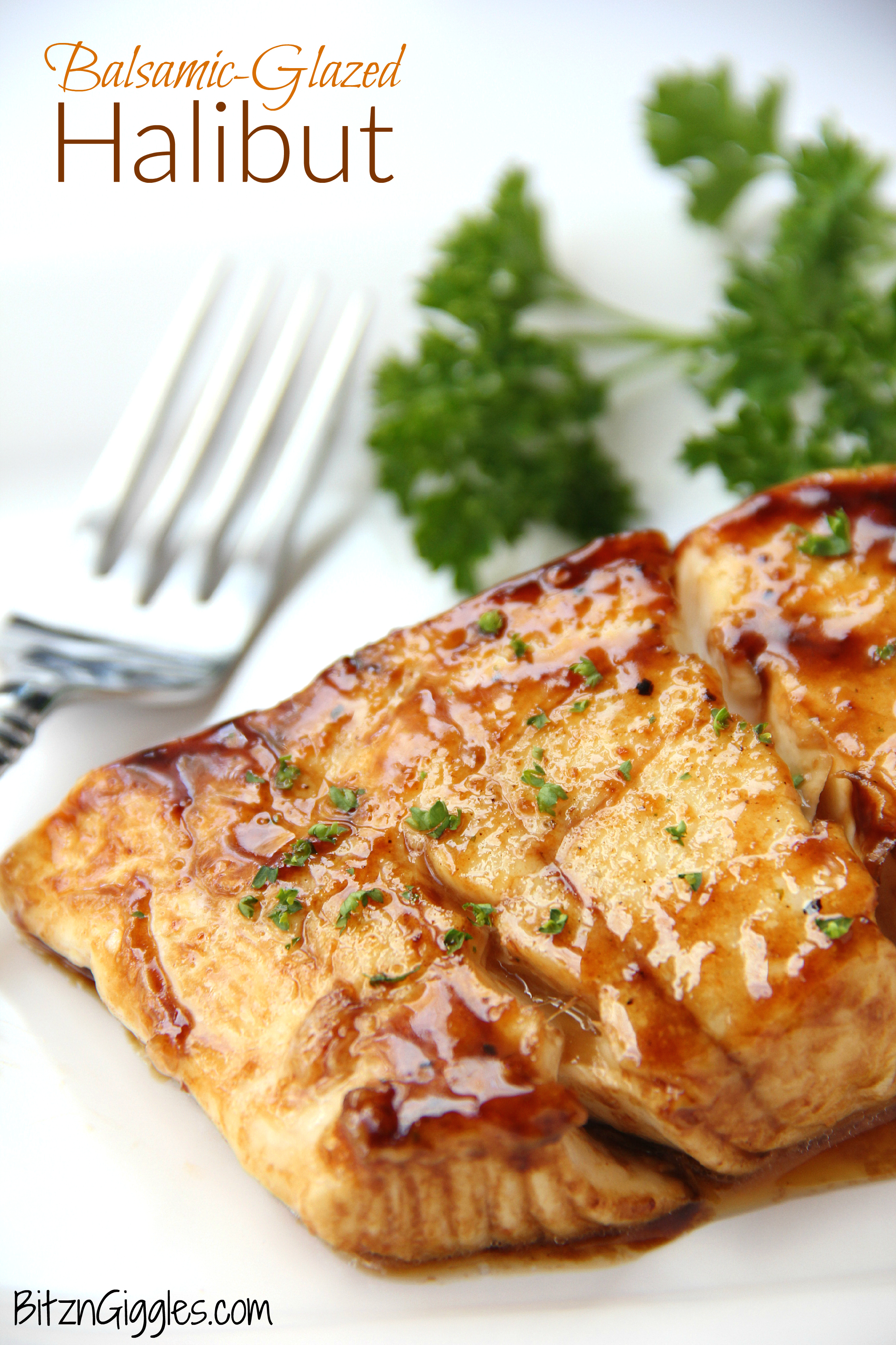 Balsamic Glazed Halibut - A flavorful brown sugar and balsamic glaze coats this light and flaky fish.