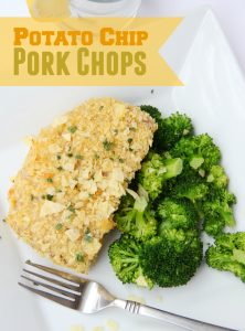 Potato Chip Pork Chops - Seasoned pork chops dredged in buttermilk with a crunchy and delicious potato chip crust!