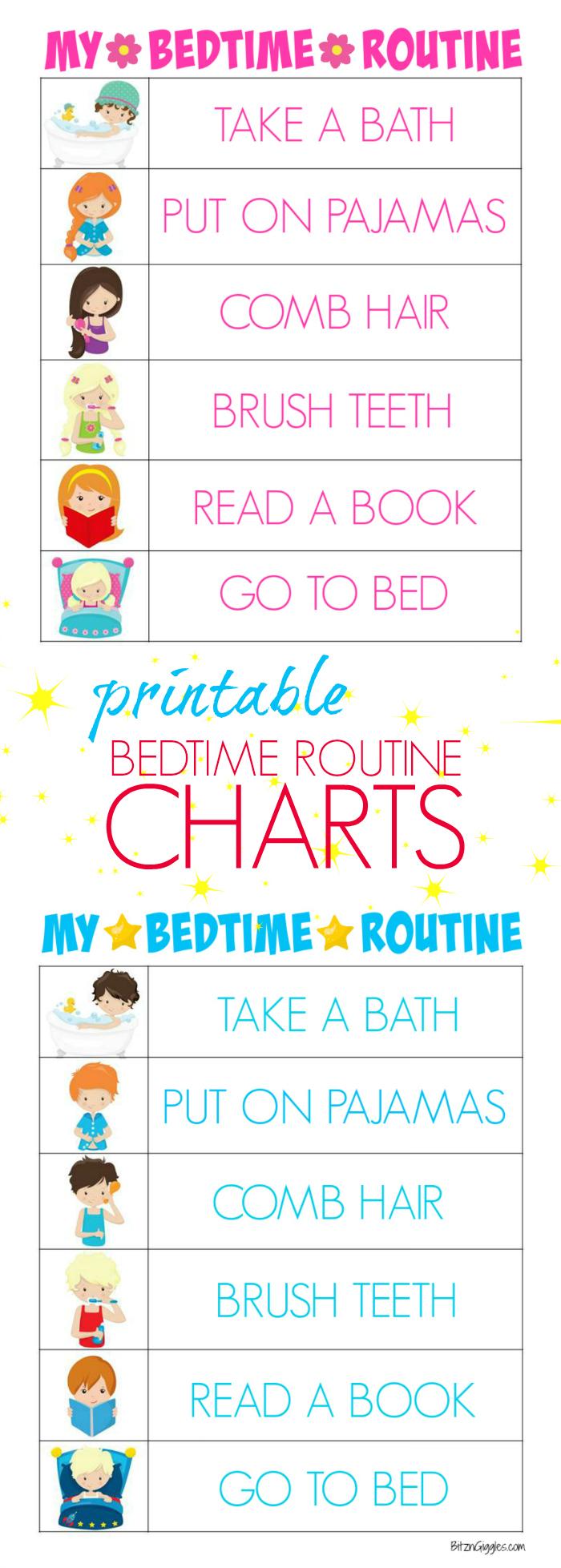 photo relating to Children's Routine Charts Free Printable referred to as Printable Bedtime Agenda Charts - Bitz Giggles