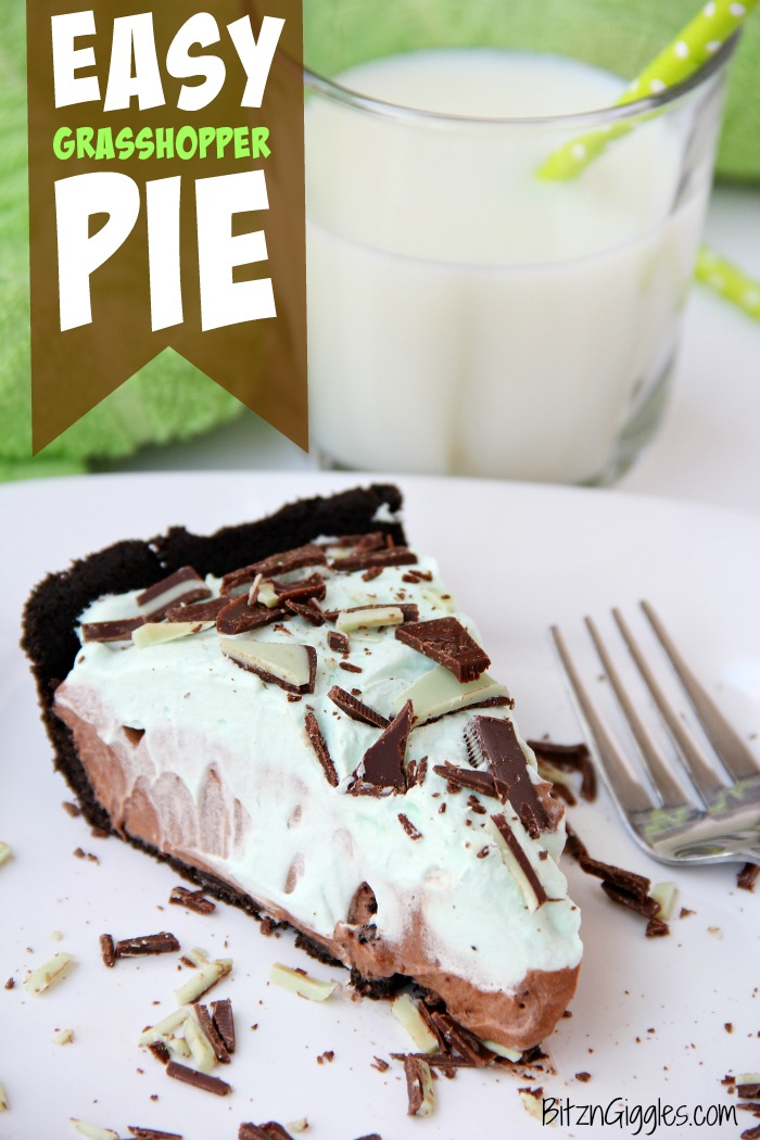 Easy Grasshopper Pie - This no bake pie is creamy with hints of chocolate and mint. Great for Christmas, St. Patrick's Day or any time of year, really!