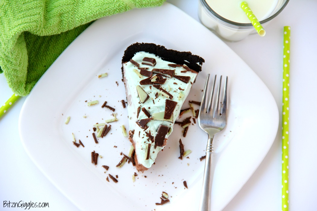 Easy Grasshopper Pie - Kid-friendly chocolate and Andes mint pie recipe! Uses a store-bought Oreo crust so it comes together in literally minutes!