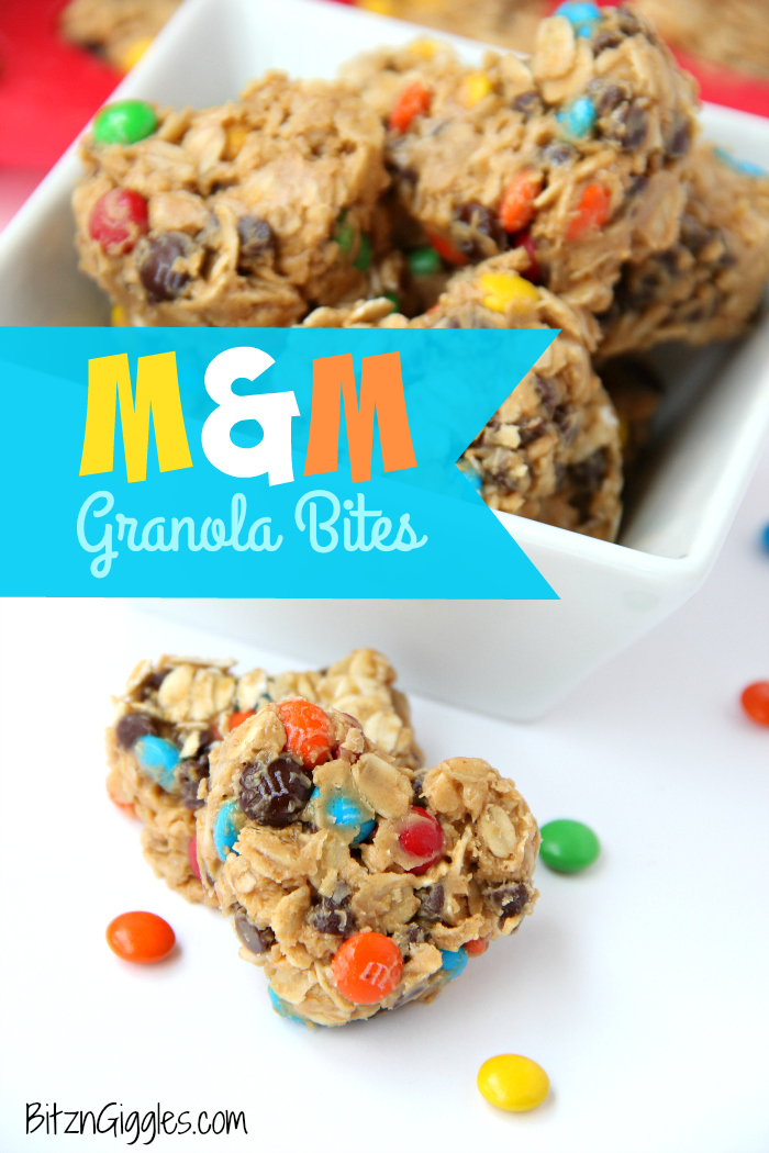 M&M Granola Bites - These granola bites are a family favorite, made with peanut butter, honey, M&Ms and chocolate chips! I used a silicone pan with heart-shaped molds to make a creative Valentine's Day dessert. Use any kind of mold you like!