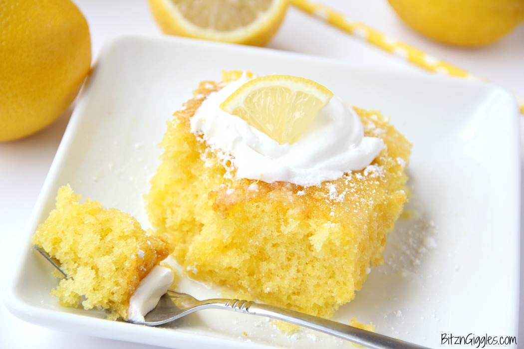 Lemon Jello Cake - Easy, delicious and moist, this lemon jello cake is so refreshing with a dollop of whipped cream on top!