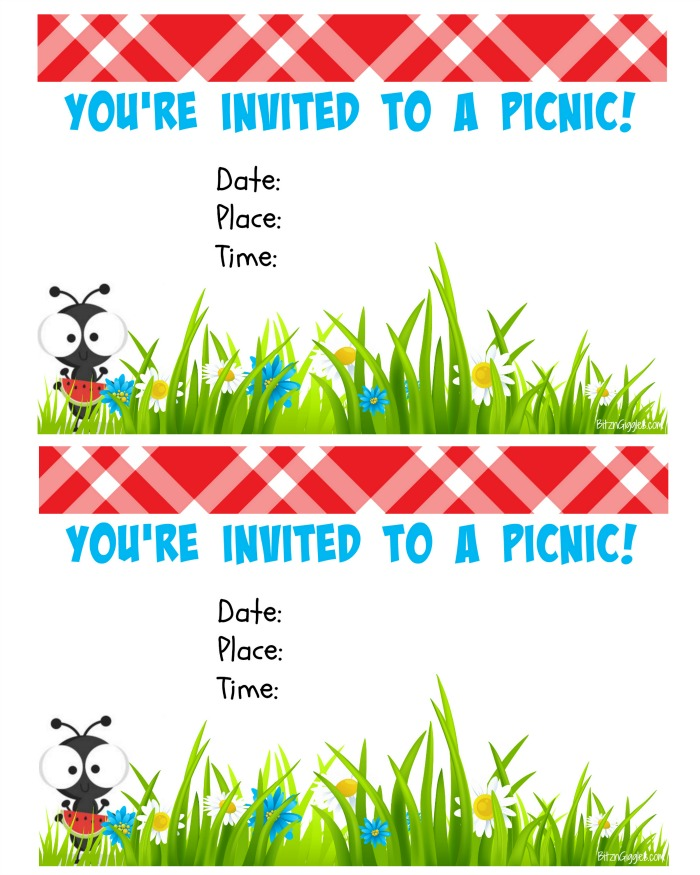 picture regarding Free Printable Picnic Invitation Template known as Totally free Printable Picnic Invite - Bitz Giggles