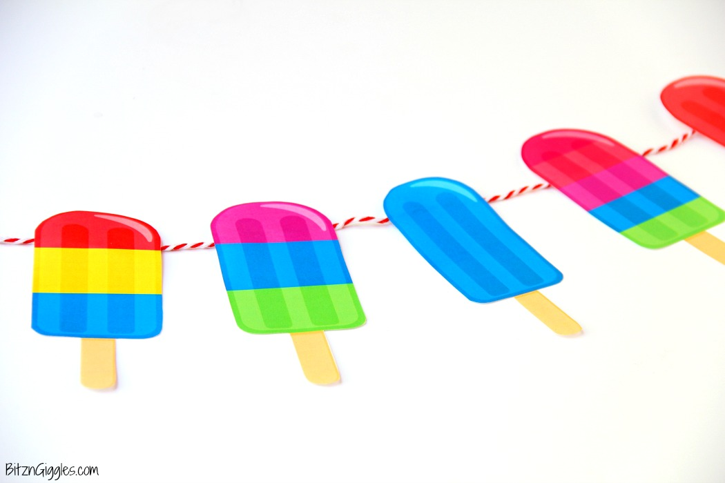 Summer Popsicle Party With FREE Printables! What a cute idea and party theme for the summer! Post includes printable invite and banner!