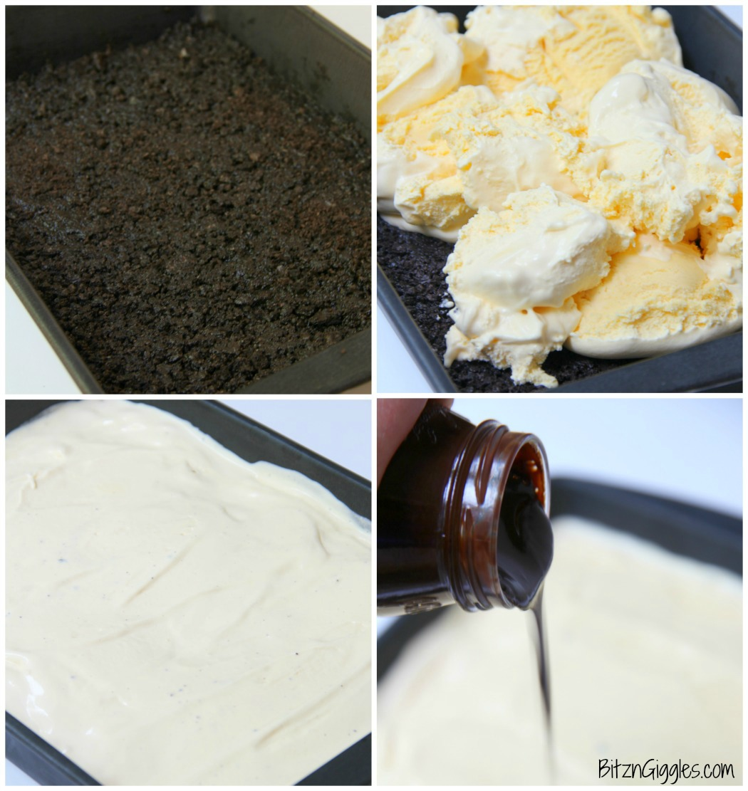 Buster Bar Lasagna - Decadent layers of Oreo cookies, ice cream, hot fudge, Snickers bars and whipped topping make up this delicious 5-layer dessert!