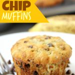 Banana Chocolate Chip Muffins - Quick and easy banana muffins with mini chocolate chips sprinkled throughout!