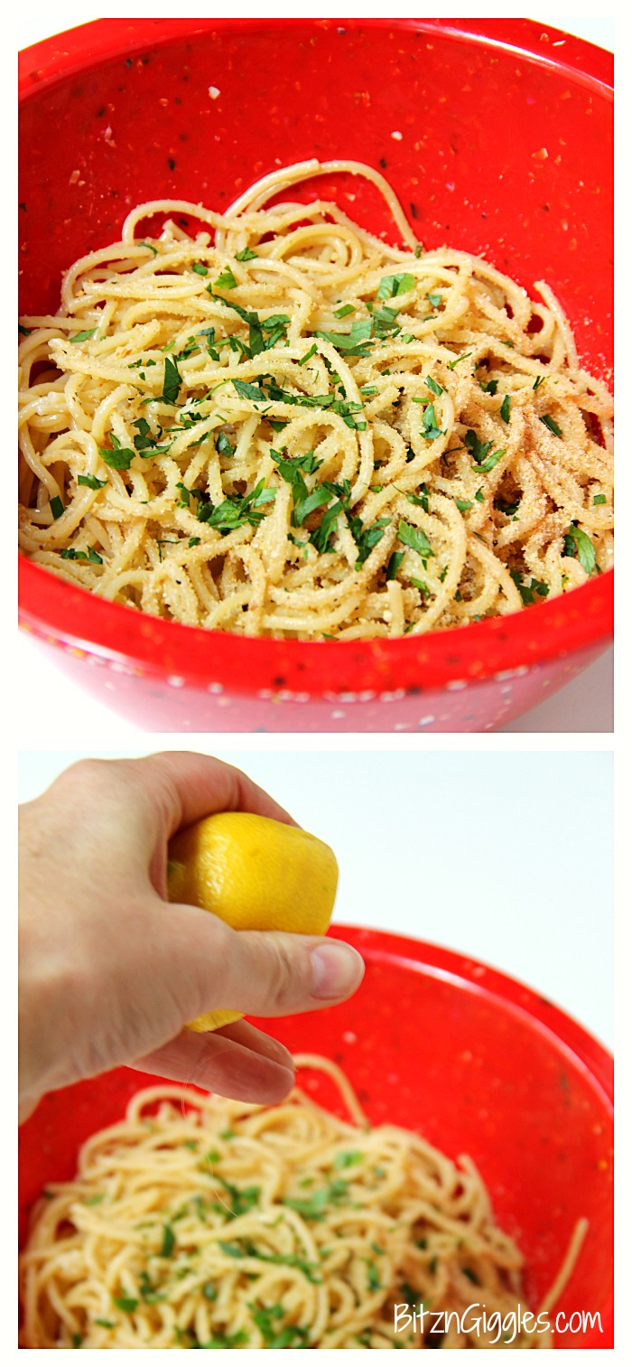 Breadcrumb Spaghetti - Breadcrumbs, fresh herbs and a splash of lemon make this pasta dish something the entire family will enjoy!