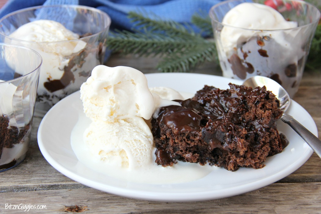 Crock Pot Chocolate Lava Cake - Warm, gooey chocolate cake made right in your crock pot with a thick fudge sauce to spoon over top!