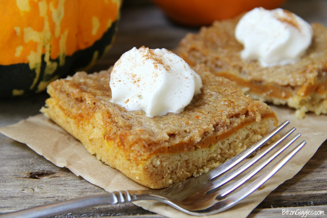 Pumpkin Pie Cake Bars - Three-layer pumpkin bars that come together with a cake mix! Cake batter crust, creamy pumpkin center and a cinnamon sugar crumble topping!