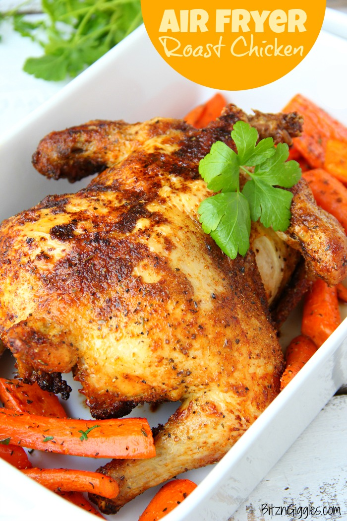 Air Fryer Roast Chicken - Deliciously moist chicken that's flavorful and crispy on the outside! So easy to make in your air fryer in no time at all! #airfryer #chicken #roastchicken #airfryerrecipe #recipe