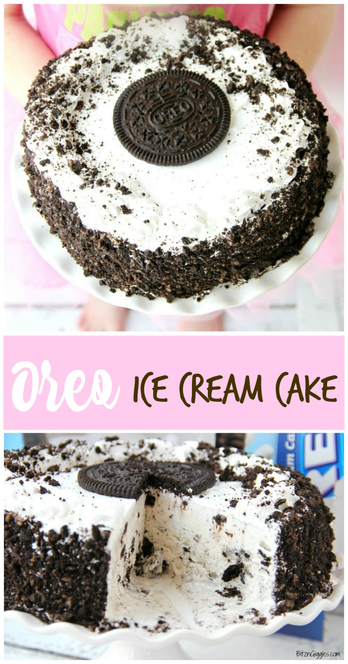 Oreo Ice Cream Cake - A delicious dessert that tastes homemade. Slip onto a cake stand and you're ready to party!