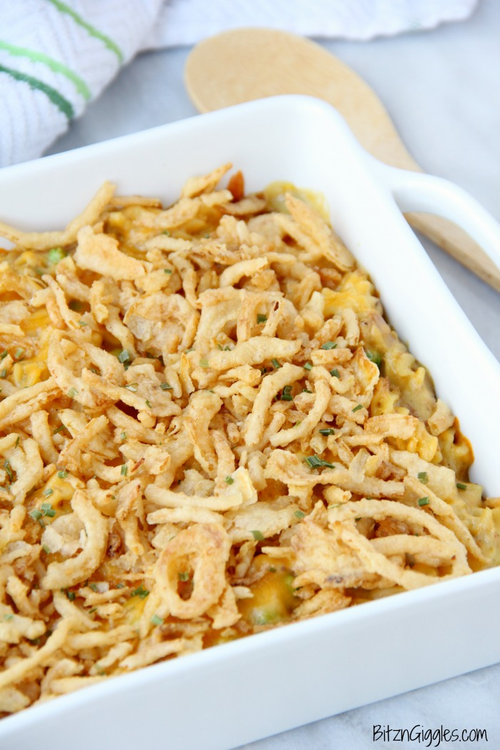 Tuna Noodle Casserole - Pasta and tuna in a creamy sauce topped with cheese and french fried onions! The perfect casserole for busy weeknights!
