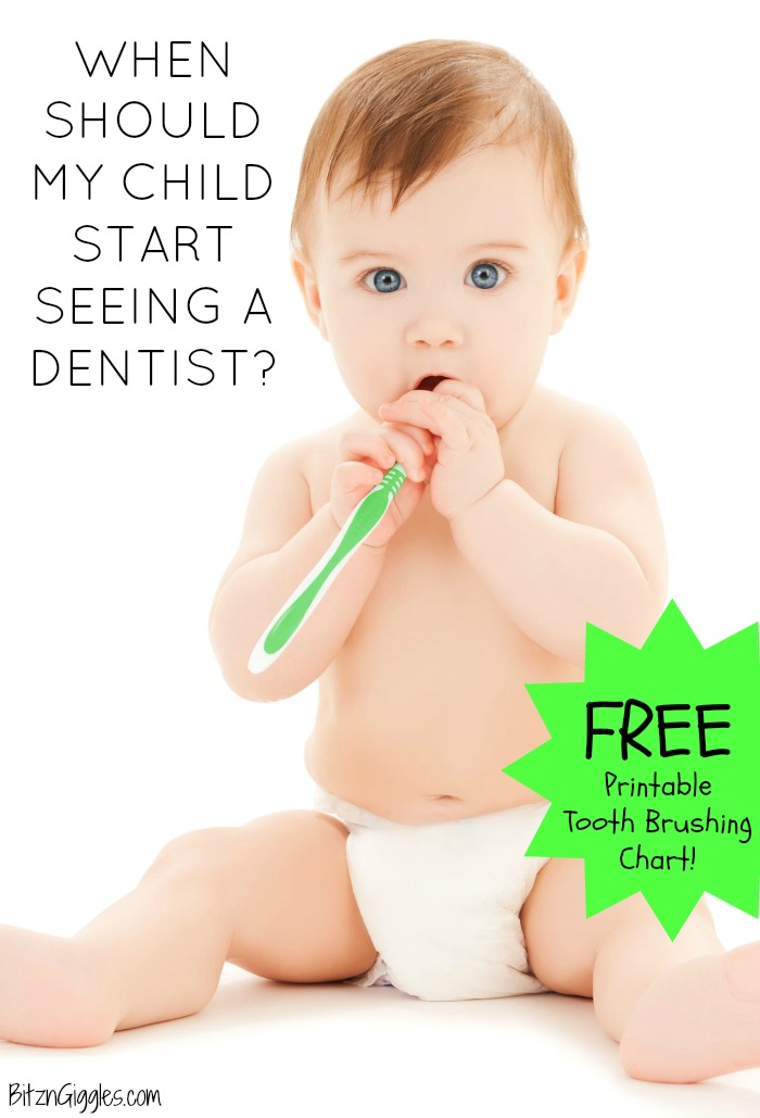 graphic about Printable Tooth Brushing Charts named Whenever Must My Youngster Start off Watching a Dentist? + No cost