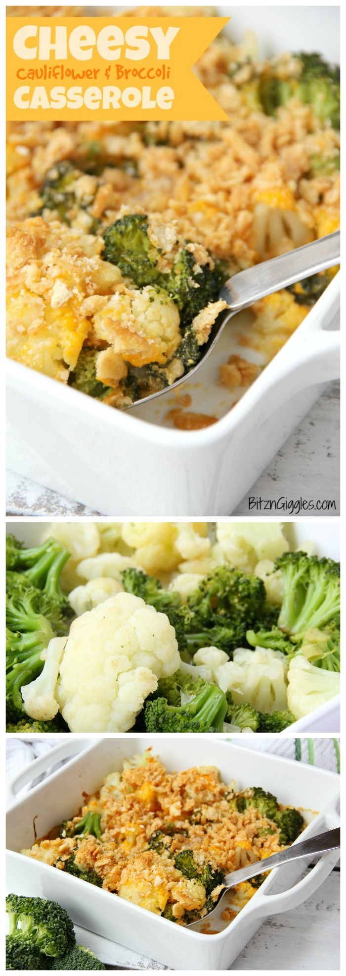 Cheesy Cauliflower and Broccoli Casserole - A cheesy cauliflower and broccoli casserole with buttery and golden Ritz cracker crumbs sprinkled over the top.