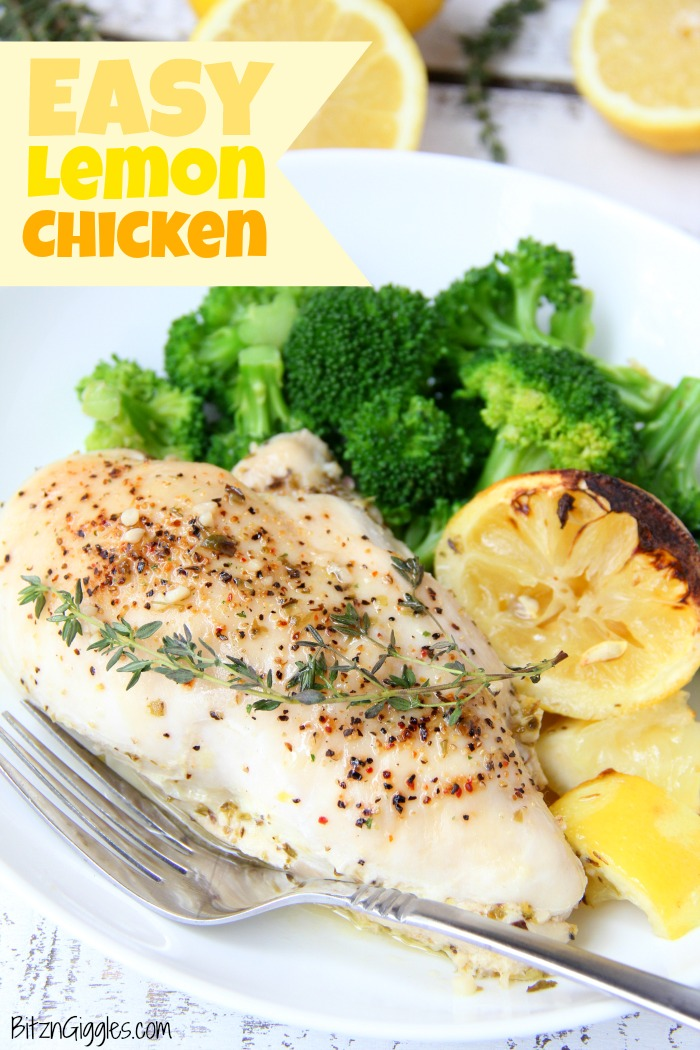 Easy Lemon Chicken - Juicy and tender chicken breasts baked in a lemon-herb sauce brimming with delicious lemony flavor!