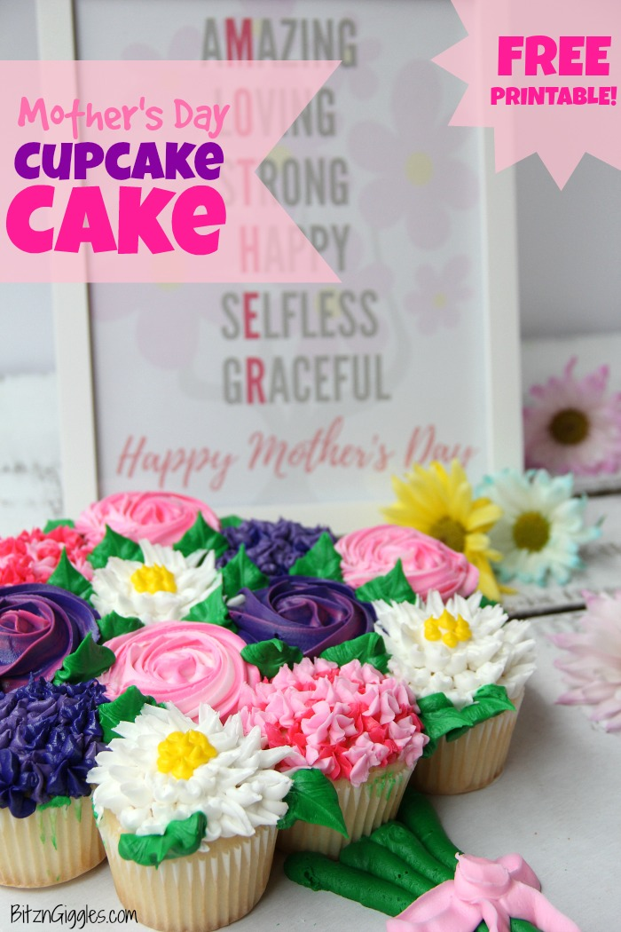 Mother's Day Cupcake Cake with Free Printable - A simple, beautiful cupcake flower bouquet that comes together with store-bought cupcakes from the grocery store bakery!