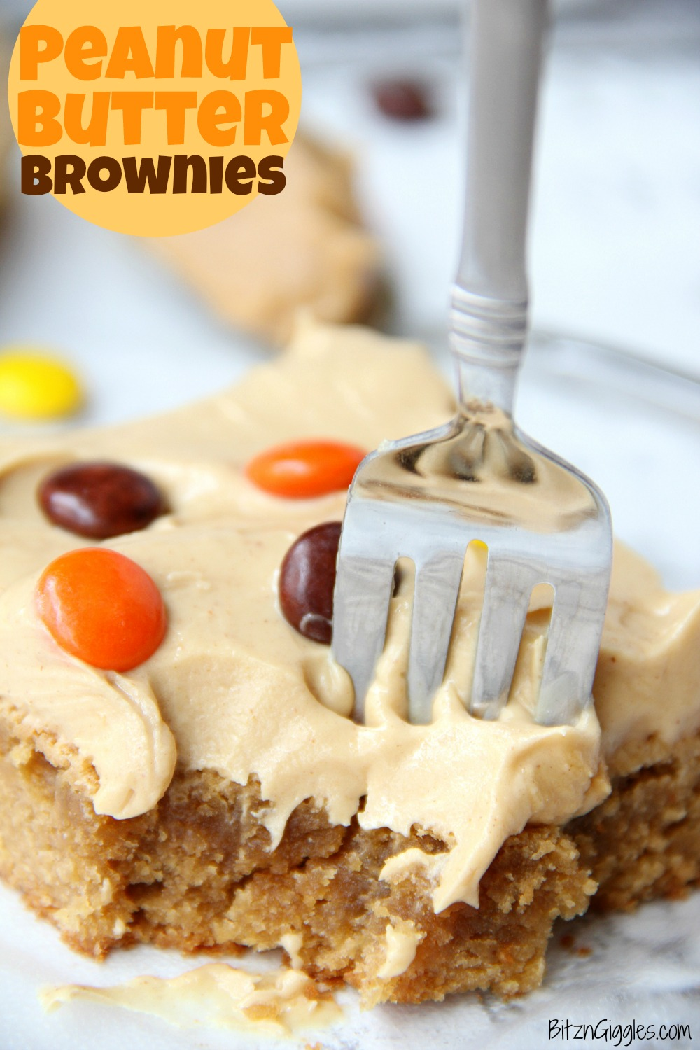 Peanut Butter Brownies – For the peanut butter lovers! Moist, cake-like peanut butter brownies topped with light and fluffy peanut butter frosting!