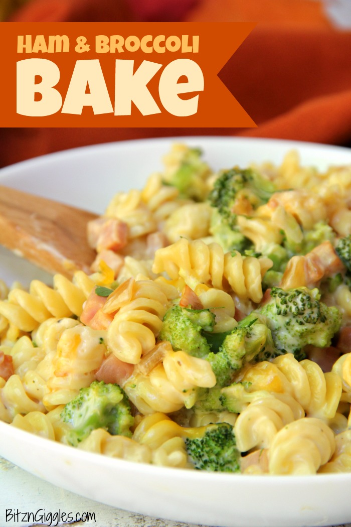 Ham & Broccoli Bake - A cheesy, flavorful pasta bake made with ham, broccoli and rotini enveloped in a rich, delicious Alfredo sauce. An easy, quick dish for busy weeknights that the entire family will love!