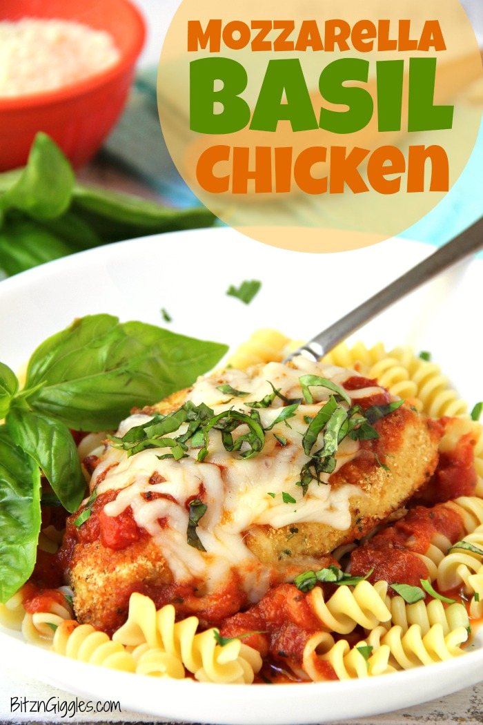 Mozzarella Basil Chicken -a delicious twist on traditional chicken parmesan. The chicken cutlets are breaded and baked, creating deliciously moist chicken to serve over pasta and sauce.