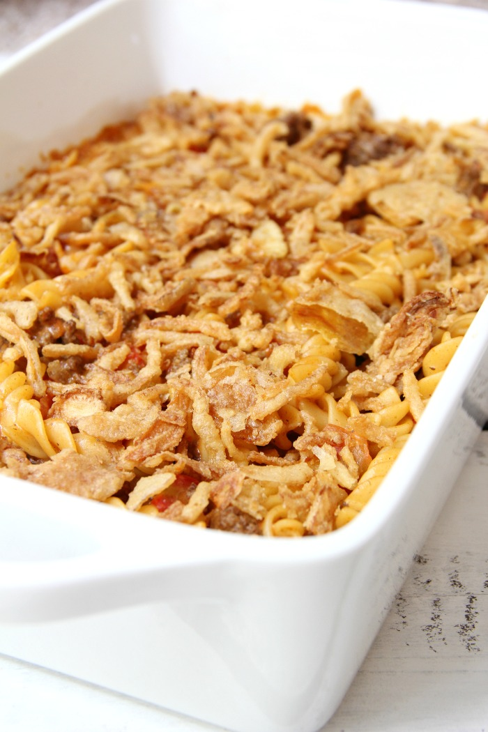 Beefy Pasta Bake - Cheesy beef and noodles topped with crunchy french fried onions!
