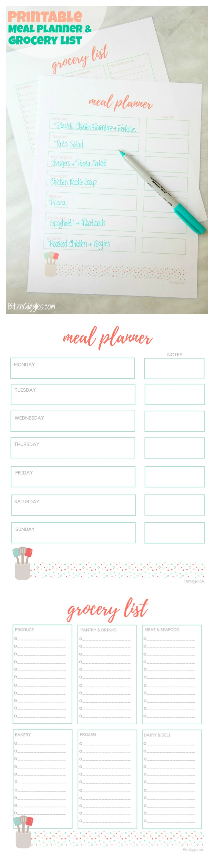 printable meal planner grocery list free meal planner and grocery list printables to help