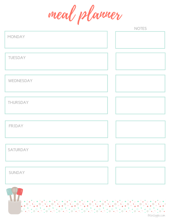 graphic regarding Printable Meal Planner identify Printable Evening meal Planner Grocery Listing - Bitz Giggles