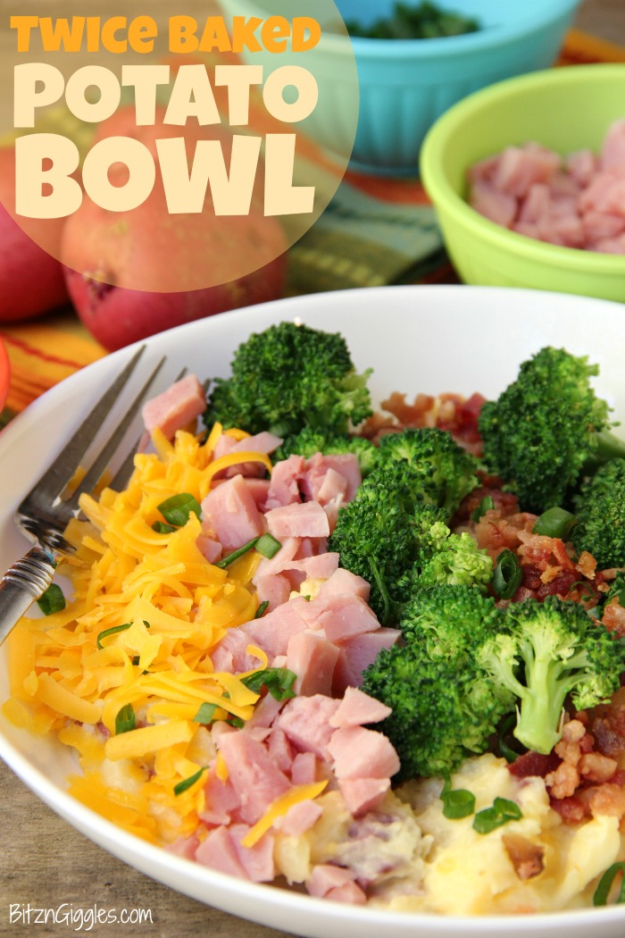Twice Baked Potato Bowl - Baby reds are steamed, mashed, loaded with delicious toppings and then drizzled with a cheesy broccoli sauce. Tastes just like a twice baked potato but prepared in record time!